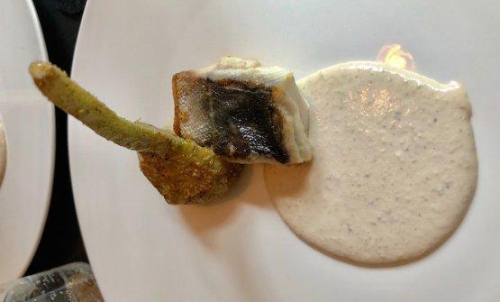 Barracuda, salsa di noci e carciofi