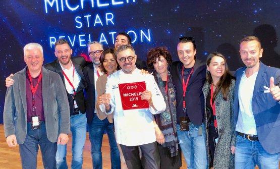 Lo squadrone degli Uliassi alla cerimonia delle 3 stelle Michelin, il 16 novembre scorso (foto Zanatta)