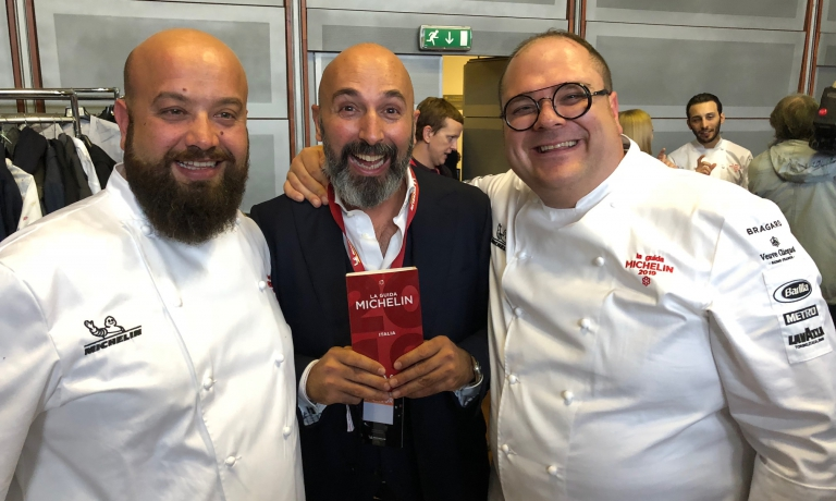 Dimongo Schingaro e Andrea Ribaldone (I Due Camini in Puglia) e Vitantonio Lombardo (ristorante omonimo a Matera)