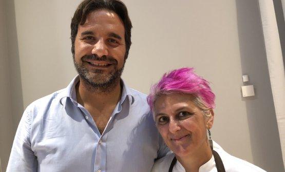 Leonardo Di Vincenzo con Cristina Bowerman all'Hub di Identità Golose Milano