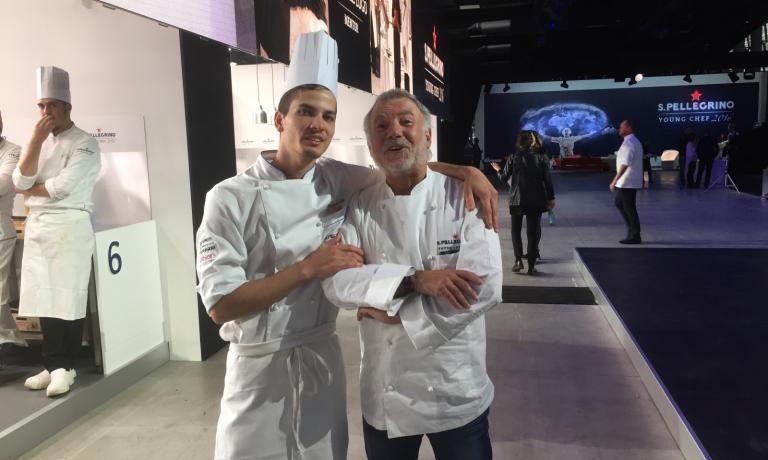 Matteo Zoneralli (italiano, ma gareggia per il Northeast Asia) con il suo mentore, Jacques Raymond