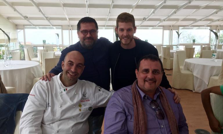 Poker di chef: da sinistra il siciliano Seby Sorbello, il pugliese Angelo Sabatelli,il calabrese Luca Abbruzzinoe Paolo Barrale, che è di Cefalù ma lavora da anni in Campania