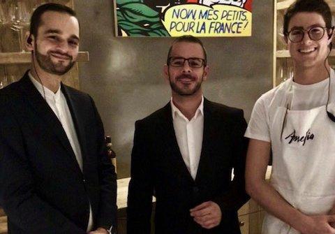 Tanti i componenti italiani della squadra: da sinistra, il maitre e sommelierMarco Adreani, il barman Marco Ferreri e il pasticciereAndrea De Lillo