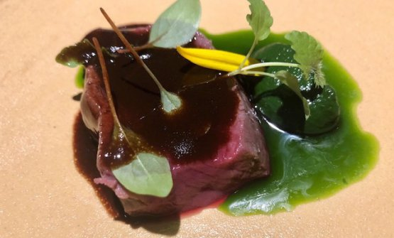 Venison with purée of nettles and oil with parsley