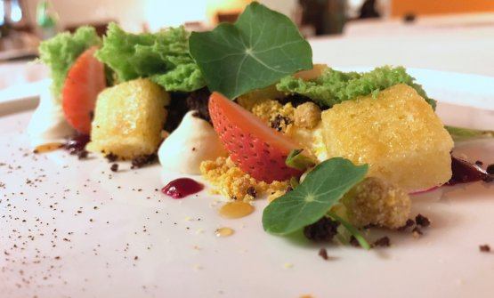 Passeggiata nell'orto, a delicious dessert: chard sponge, Jerusalem artichoke, strawberries, orange, beetroot...
