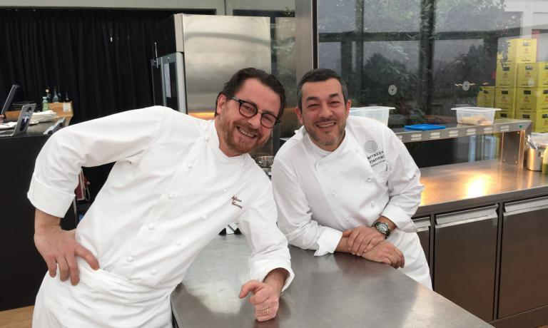 Stefano Cerveni e Fabrizio Ferrari, i co-chef della Terrazza Triennale di Milano, teatro del pranzo di ieri