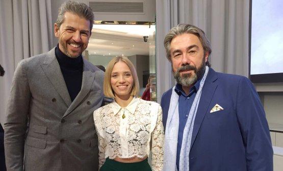 Da sinistra: Andrea Berton, Isabella Potì ePhilippe Léveillé, fotografati poco prima della conferenza stampa a Identità Golose Milano
