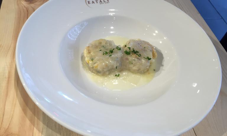 Gli Gnocchi di pane e prosciutto con squash e crema di Grana Padano Riserva di Michael White