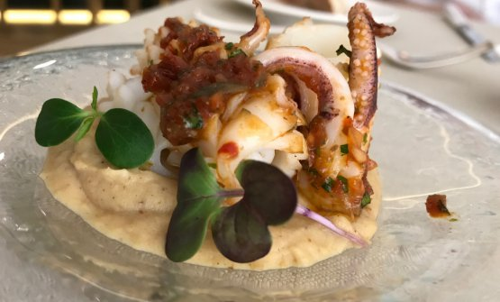 Carpaccio di calamari scottati con salsa dolce piccante e purea di melanzane