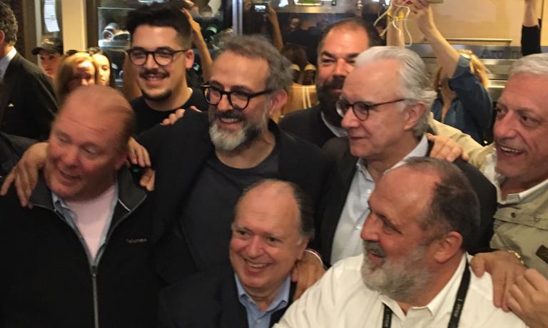Mario Batali, Massimo Bottura, Enzo Vizzari, Raffaele Alajmo, Alain Ducasse, Paolo Marchi e Davide Scabin
