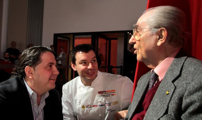 A bordo pista di Dossier Dessert, un trio d'eccezione: Gianluca Fusto, Luca Fantin e Gualtiero Marchesi