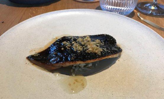 Smoked herring, wild fennel, green strawberries, elderberry flower sauce