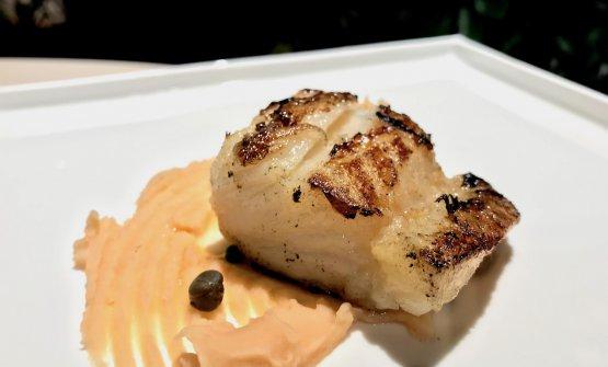 Filetto di baccalà marinato nella sambuca ed erbe aromatiche, crema di cannellini al tabasco, capperi alla Malvasia e arancia