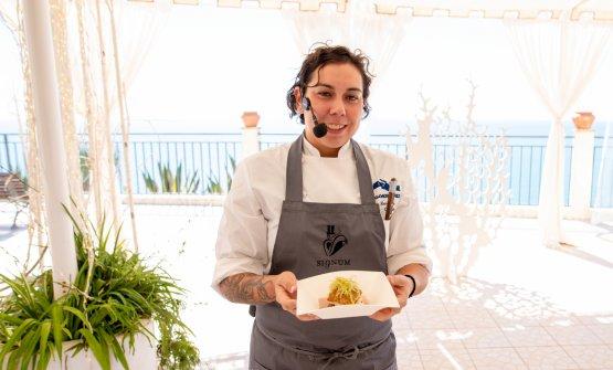 Martina Caruso durante il suo cooking show nell'ambitodel convengo ad Agrigento