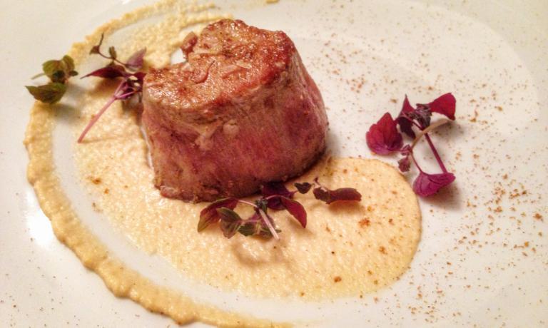 Filetto di Zebra, salsa di sedano rapa al latte di merluzzo enanami togarashi