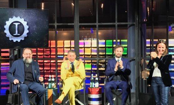 Michele De Lucchi, Lapo Elkann e Carlo Cracco all'inaugurazione di Garage Italia, presentata daCamila Raznovich