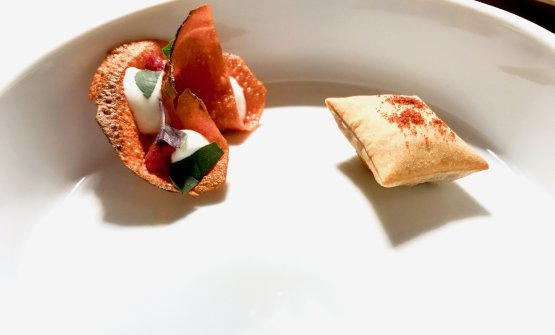 To the left,Homage to Ciro Oliva, we already mentioned this here:Massimo Bottura's stuzzico dedicated to Ciro Oliva. To the right,Salted codfish and tomato
