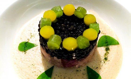 Imperial caviar with cucumber marinated in rice vinegar, yuzu gelatine, tartare of marinated mackerel, wasabi