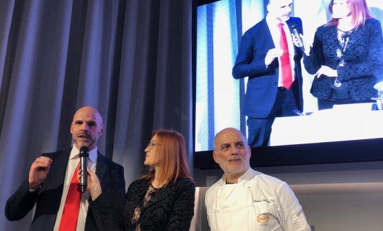 Christian Deflorian (Pastificio Felicetti), Eleonora Cozzella (giornalista e moderatrice di Identità di Pasta) e Corrado Assenza