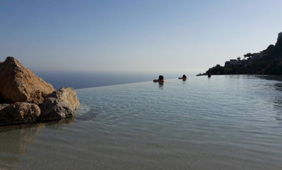 The infinity swimming pool at Monastero, overlooking the Amalfi Coast