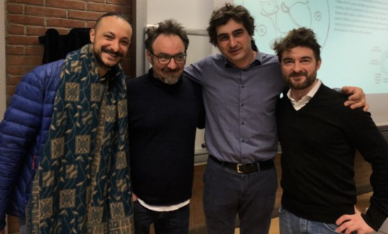 Paolo Lopriore and Luca Govoni with cooks Diego Rossi and Federico Sisti, who attended the lesson