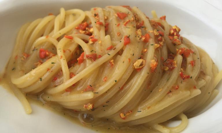 Spaghetti with sea lemon and fennel leaves at restaurant Bikini, chefDomenico De Simone