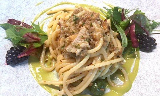 Spaghetti all'anguilla affumicatadi Enrico Bartolini