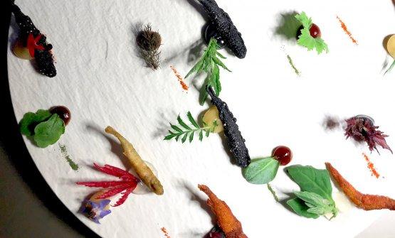 Festival delle acquadelle e gioco di salse. Un must della cucina di Ascani: «Vedevo le acquadelle sempre là buttate al mercato, nessuno le mangiava...». Sono accompagnate da salse (di carpione, di limone salato, di nero di seppia,ponzu) erbe e polveri, ogni boccone una declinazione diversa