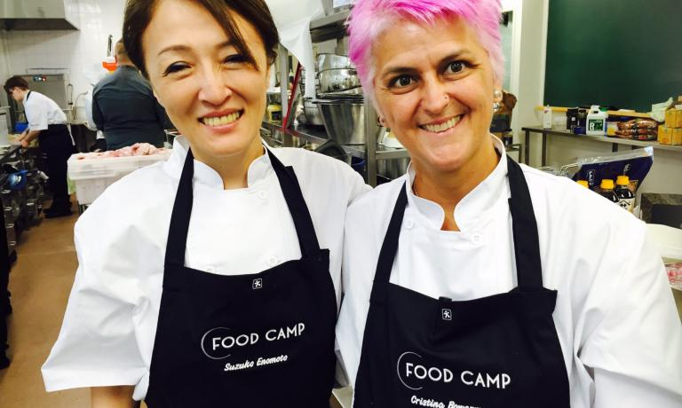 Cristina Bowerman with Suzuko Enomoto, one of the women chefs who participated in Food Camp