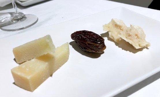 Poteva mancare un assaggio di formaggi? Fiore sardo e pecorino semistagionato con dattero alla mandorla