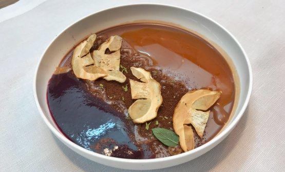 Il cioccolato d'autunno: caffè, cardamomo, nocciola Tonda Gentile, uva fragola e porcino candito: un dessert che si propone di essere una tela su cui dipingere diversi paesaggi autunnali, in base agli ingredienti che verranno scelti, settimana dopo settimana