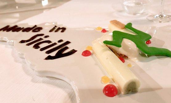Made in Sicily: ricotta di pecora, mousse di pistacchio di Bronte, mandorla di Noto, ciliegia, arancia e gelato alla cannella