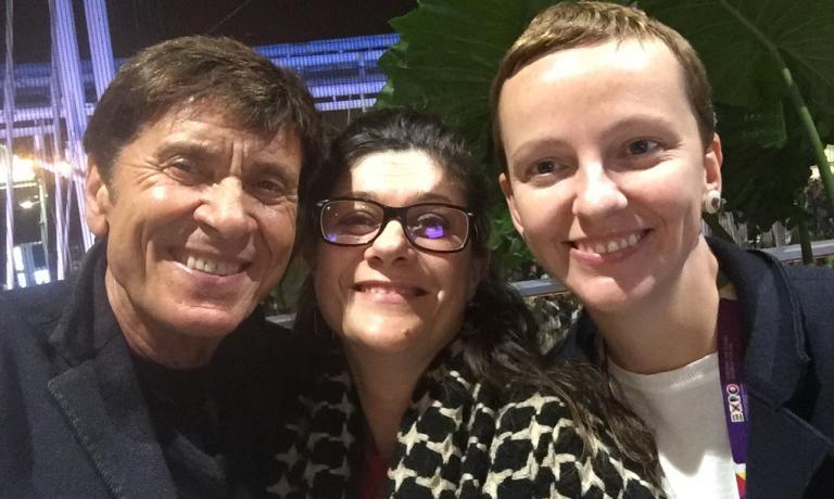 Morandi con Daria Abbondi e Sara Salmaso, staff di Identità Expo