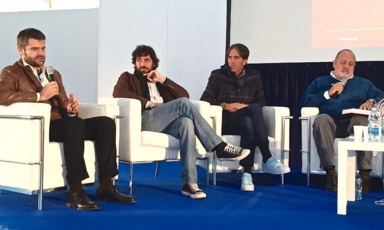 Bartolini poche ore fa con Matias Perdomo, Davide Oldani e Paolo Marchi, alla presentazione di 100 chef x 10 anni al Castello Sforzesco