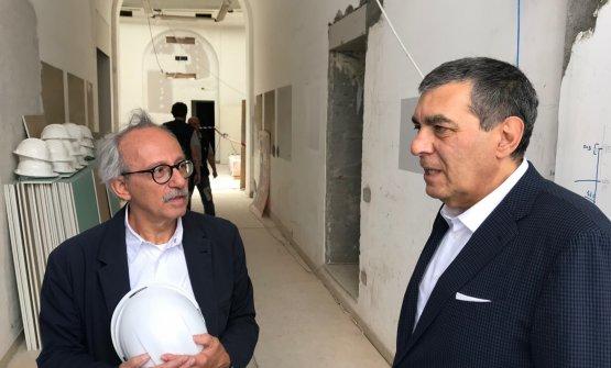 L'architetto Egidio Tordera, che ha curato il progetto, con Claudio Ceroni