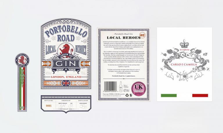 L'etichetta del Portobello DryGin, edizione limitata Local Heroes, personalizzato Carlo e Camilla in Segheria, con tanto di bandiera italiana