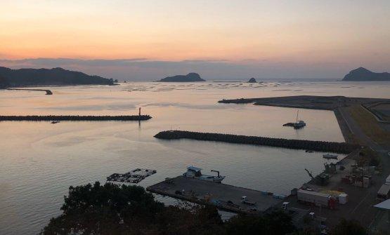 La vista dall'hotel Takahirayadi Nobeoka, ne