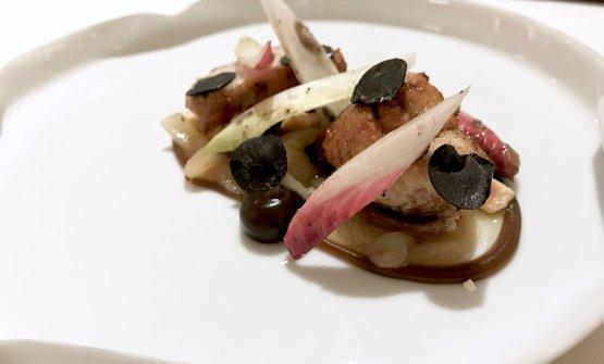Animelle di vitello del Limousin, fondue di cipolle delleCévennes, porcini arrosto, jus gras