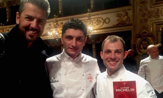 Tra Andrea Berton eRaffaele Lenzi, chef di Berton al Lago, neo-stella,c'è Andrea Aprea del Vun del Park Hyatt, promosso alla seconda