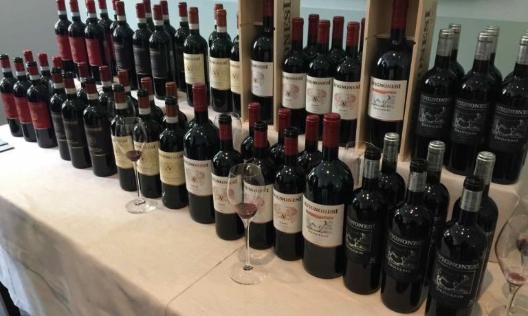 La selezione di vini Avignonesi presentata alla cena da Daniel Canzian