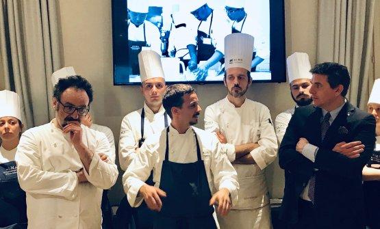Lopriore e Gorini a fine cena con il Direttore Generale di ALMA Andrea Sinigaglia