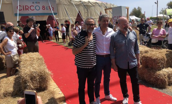 Massimo Bottura, il sindaco di Rimini Andrea Gnassi e Stefano Bonaccini, presidente della regione Emilia Romagna