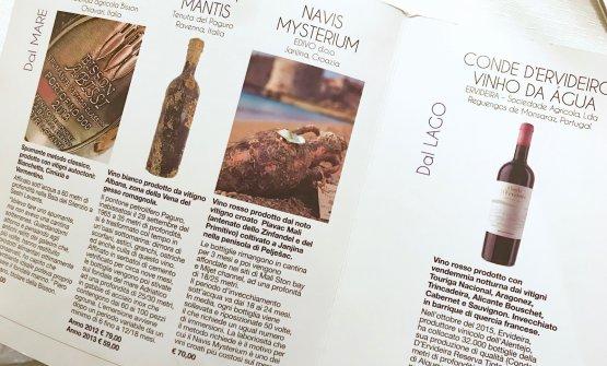 La patron Nuccia De Angelis è archeologa subacqua: perciò la cantina propone anche una piccola lista di vini affinati in fondo al mare e al lago (o di birre con acqua di mare)