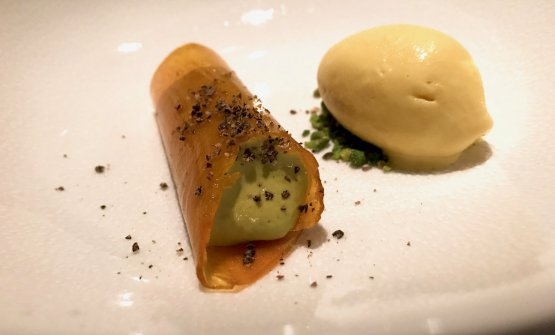 Pumpkin, saffron ice cream, Sürtme sesame, pistachios form Antep, hemp seeds. The pumpkin is first marinated in quicklime water for 24 hours and then cooked