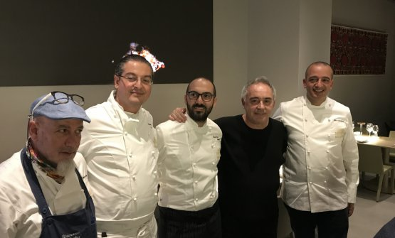 Ferran the other night with the four guest chefs representing Le Soste di Ulisse: Angelo Treno, Damiano Ferraro, Gioacchino Gaglio and Pino Cuttaia