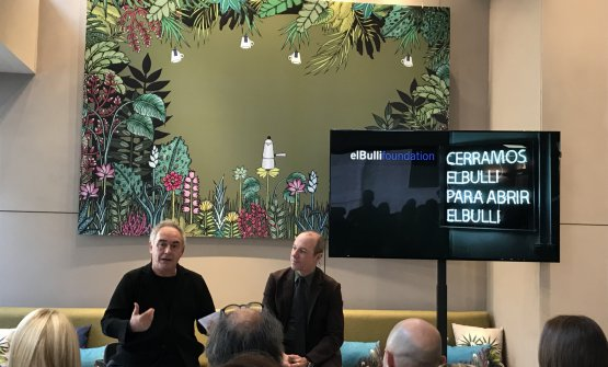 Adrià with Giuseppe Lavazza during the press conference for the presentation of Coffee Sapiens, a book published with the contribution of Lavazza to the great Bullipedia project