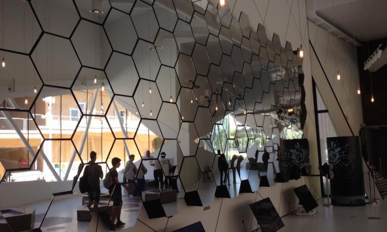 A mirror beehive serves to underline the importance of bees in the world's ecosystem