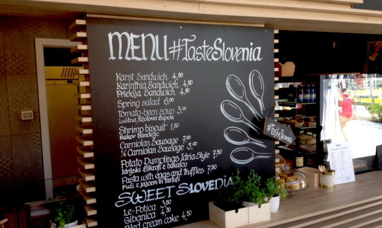 The blackboard with Slovenian specialties