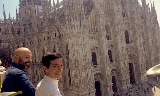 Gaia Giordano con Niko Romito sul balcone di Spazio Milano