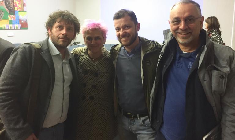 Cesare Battisti, Cristina Bowerman, Giulio Terrinoni ed Enzo Coccia alla riunione del Gruppo di lavoro sulla valorizzazione all'estero della cucina italiana di qualità